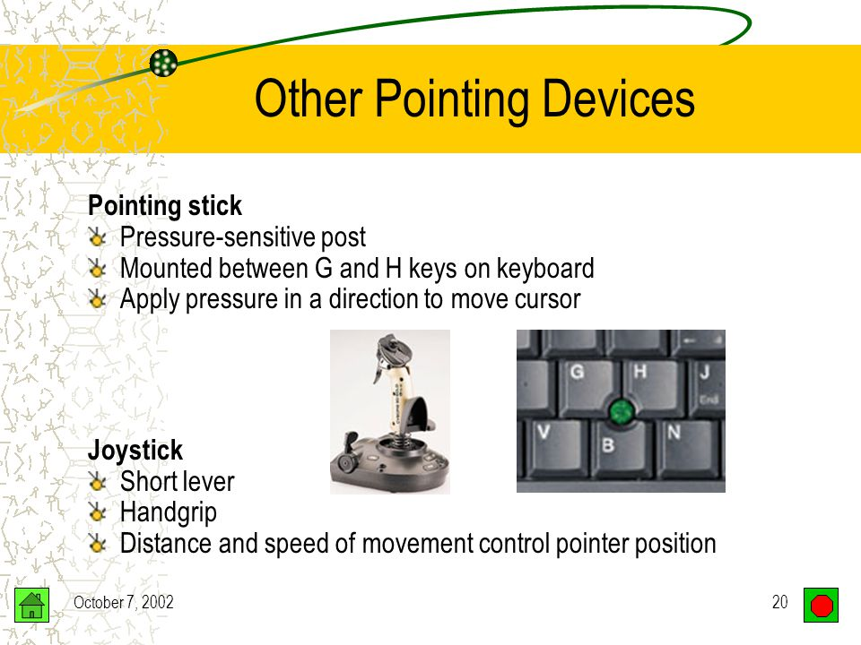 October 7, 200219 Other Pointing Devices Trackball –Upside-down mouse –Ball on top –Roll ball with hand –Laptop computers Touchpad –Pressure-sensitive pad –Cursor moves as you slide your finger –Laptop computers