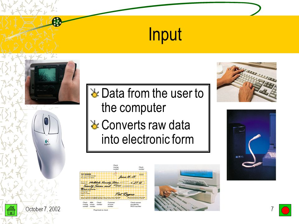 October 7, 20027 Input Data from the user to the computer Converts raw data into electronic form