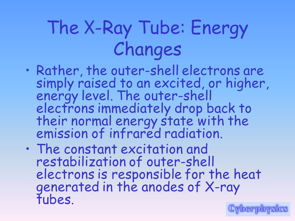 The X -Ray Tube: Energy Changes Rather, the outer-shell electrons are simply raised to an excited, or higher, energy level. The outer-shell electrons