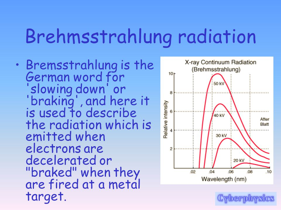 Brehmsstrahlung radiation Bremsstrahlung is the German word for 'slowing down' or 'braking', and here it is used to describe the radiation which is em