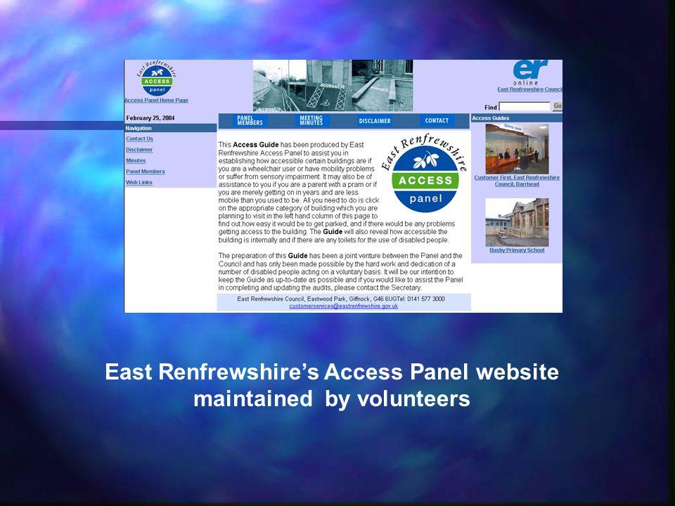 East Renfrewshires Access Panel website maintained by volunteers