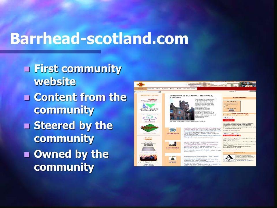 Barrhead-scotland.com First community website First community website Content from the community Content from the community Steered by the community Steered by the community Owned by the community Owned by the community