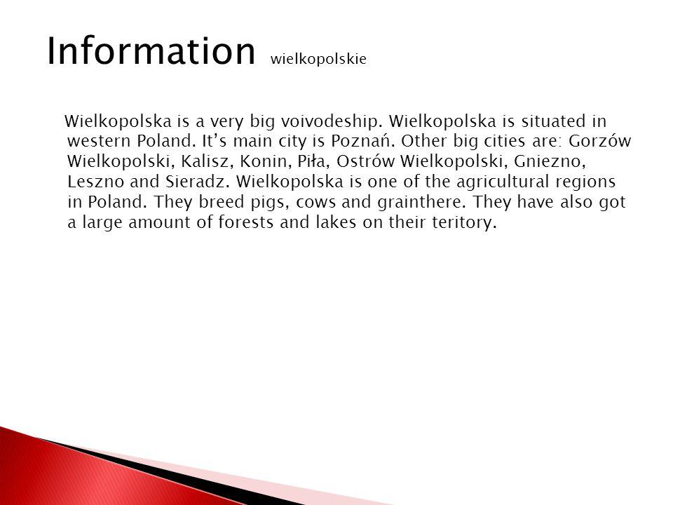 Wielkopolska is a very big voivodeship. Wielkopolska is situated in western Poland.