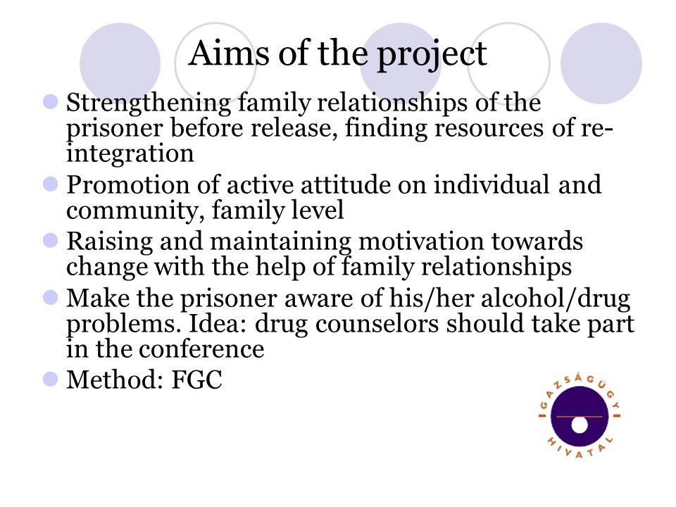 Aims of the project Strengthening family relationships of the prisoner before release, finding resources of re- integration Promotion of active attitu