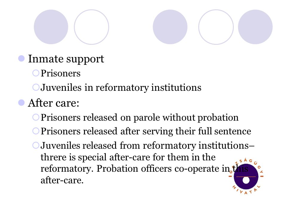 Inmate support Prisoners Juveniles in reformatory institutions After care: Prisoners released on parole without probation Prisoners released after serving their full sentence Juveniles released from reformatory institutions – threre is special after-care for them in the reformatory.