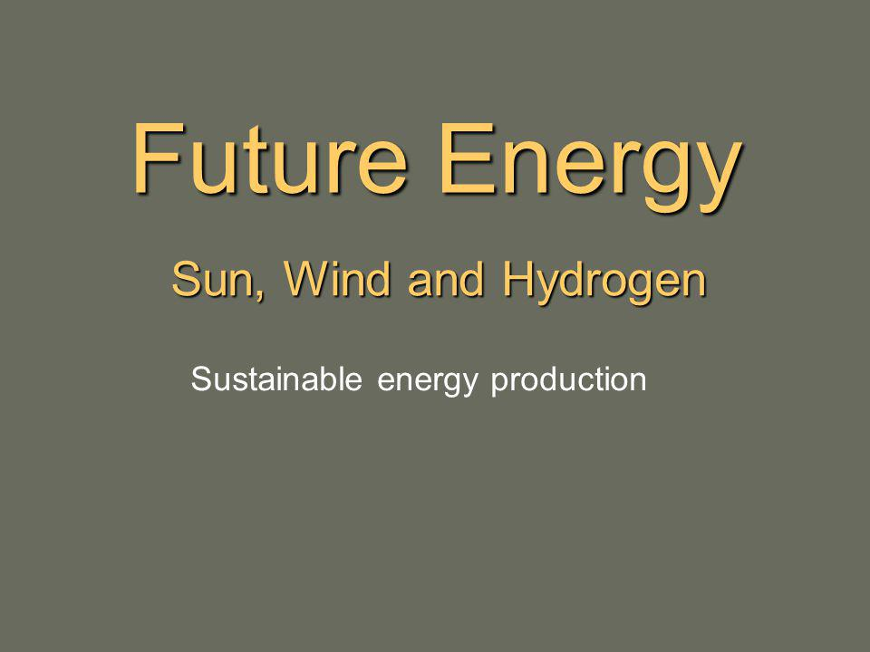Future Energy Sun, Wind and Hydrogen Sustainable energy production