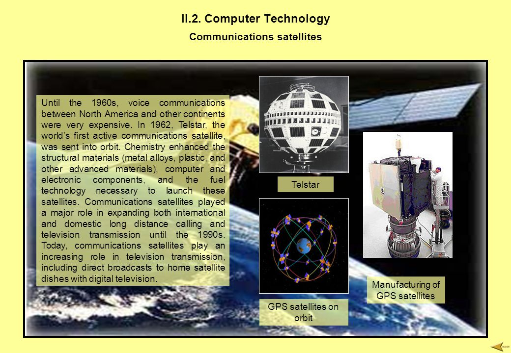 II.2. Computer Technology Communications satellites Until the 1960s, voice communications between North America and other continents were very expensi