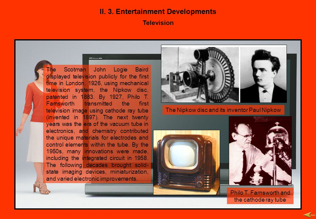II. 3. Entertainment Developments Television The Scotman John Logie Baird displayed television publicly for the first time in London, 1926, using mech