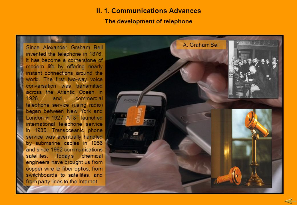 II. 1. Communications Advances The development of telephone Since Alexander Graham Bell invented the telephone in 1876, it has become a cornerstone of