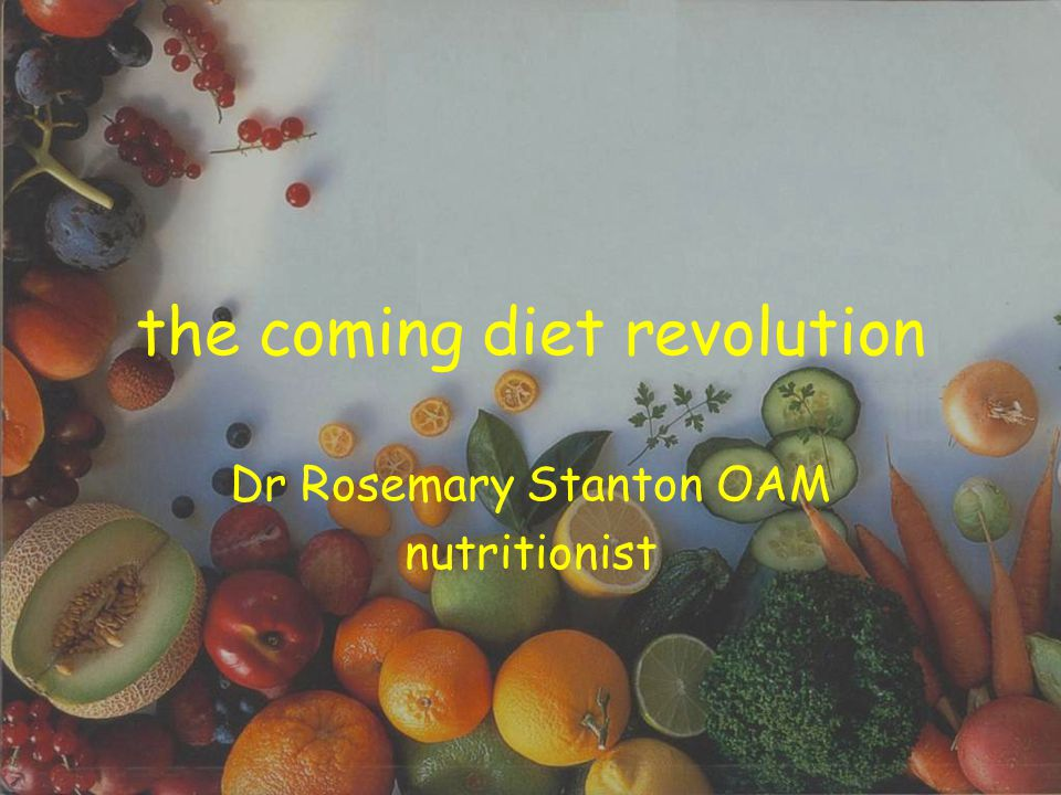 the coming diet revolution Dr Rosemary Stanton OAM nutritionist