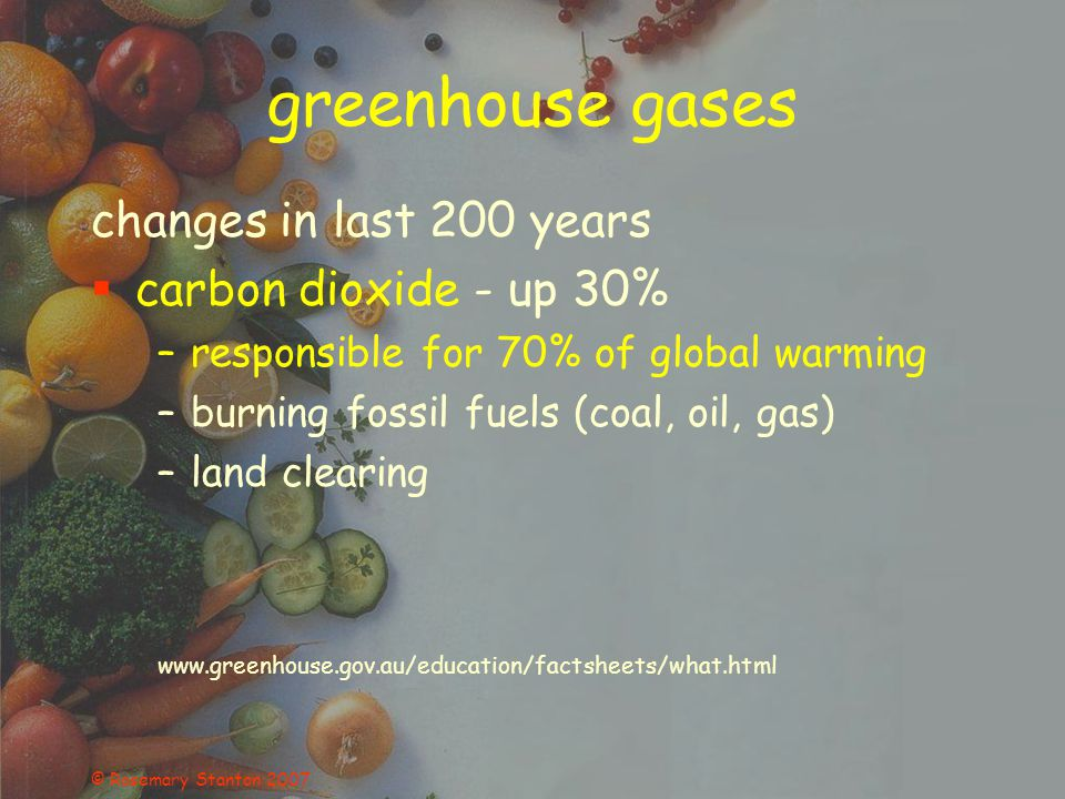 © Rosemary Stanton 2007 greenhouse gases changes in last 200 years methane - up 145% –contributes 20% of global warming –increased numbers of cattle –rice cultivation ( temperature, CO 2 ) –escape of natural gas –decomposing waste in landfill www.greenhouse.gov.au/education/factsheets/what.html