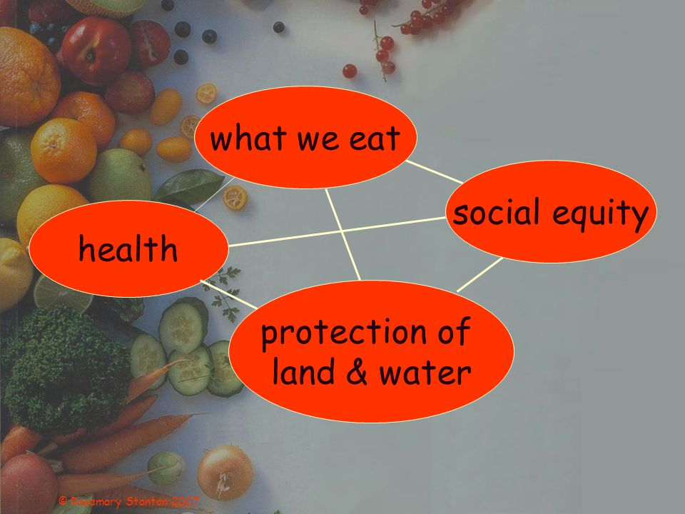 © Rosemary Stanton 2007 what we eat social equity health protection of land & water