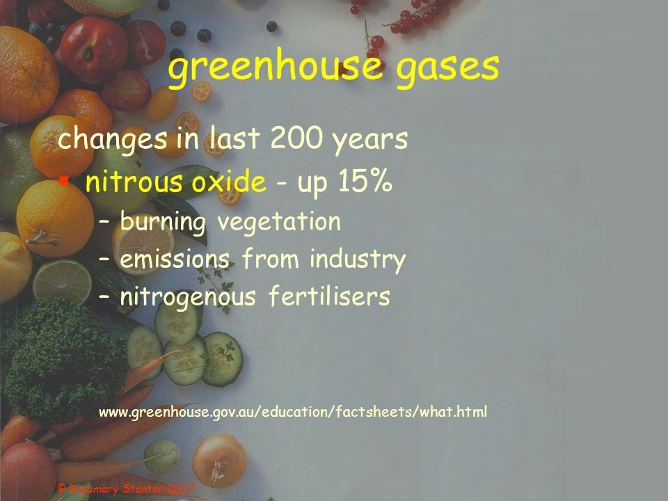 © Rosemary Stanton 2007 greenhouse gases changes in last 200 years nitrous oxide - up 15% –burning vegetation –emissions from industry –nitrogenous fertilisers www.greenhouse.gov.au/education/factsheets/what.html