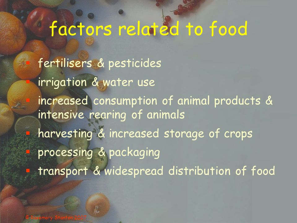 © Rosemary Stanton 2007 animal production - feedlots 20-50 kg of feed produces 1 kg meat 40% of world grain fed to animals land cleared to grow grain, then grain transported to feedlots more waste (450kg steer produces 29kg wet waste/day) more methane - 2.5 x if animals fed a rich diet (CSIRO aiming to change cattle microbes & reduce methane by 16%)