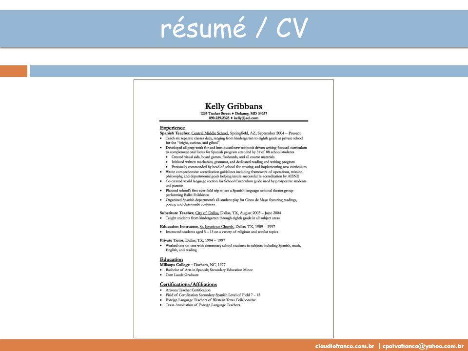 résumé / CV claudiofranco.com.br | cpaivafranco@yahoo.com.br