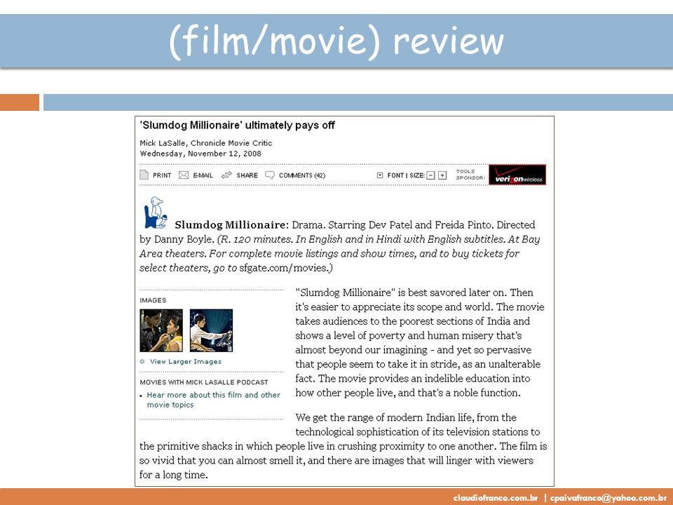 (film/movie) review claudiofranco.com.br | cpaivafranco@yahoo.com.br