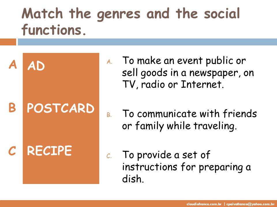Match the genres and the social functions. AD POSTCARD RECIPE A.