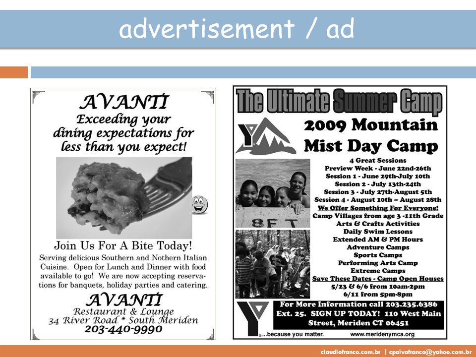 advertisement / ad claudiofranco.com.br | cpaivafranco@yahoo.com.br