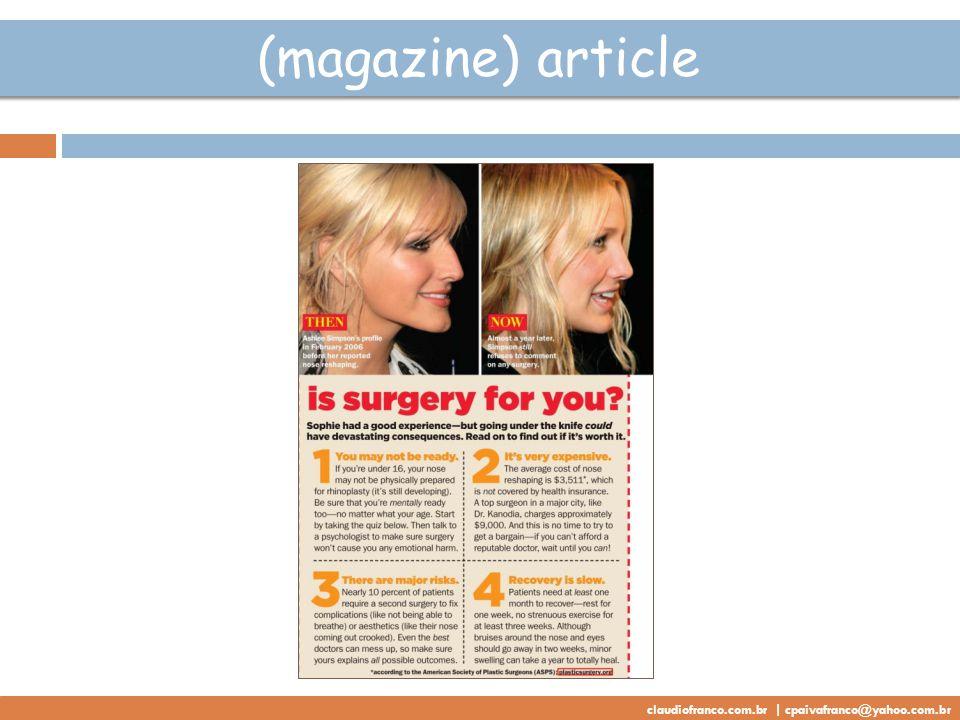 (magazine) article claudiofranco.com.br | cpaivafranco@yahoo.com.br