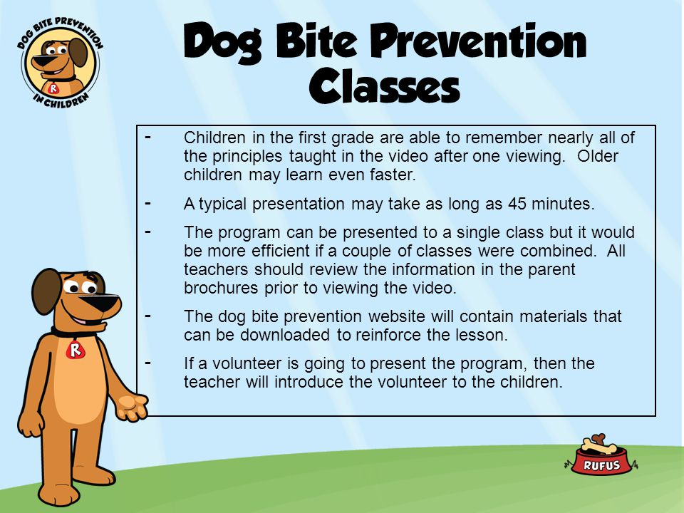 Dog Bite Prevention Classes -Children in the first grade are able to remember nearly all of the principles taught in the video after one viewing. Olde