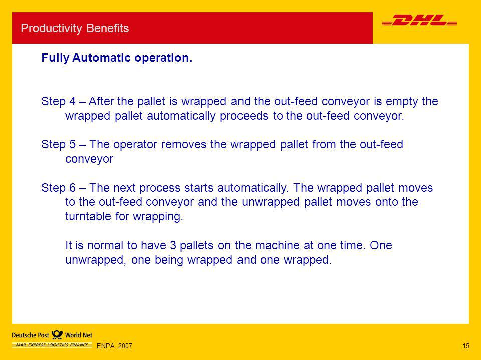 15ENPA 2007 Productivity Benefits Fully Automatic operation. Step 4 – After the pallet is wrapped and the out-feed conveyor is empty the wrapped palle