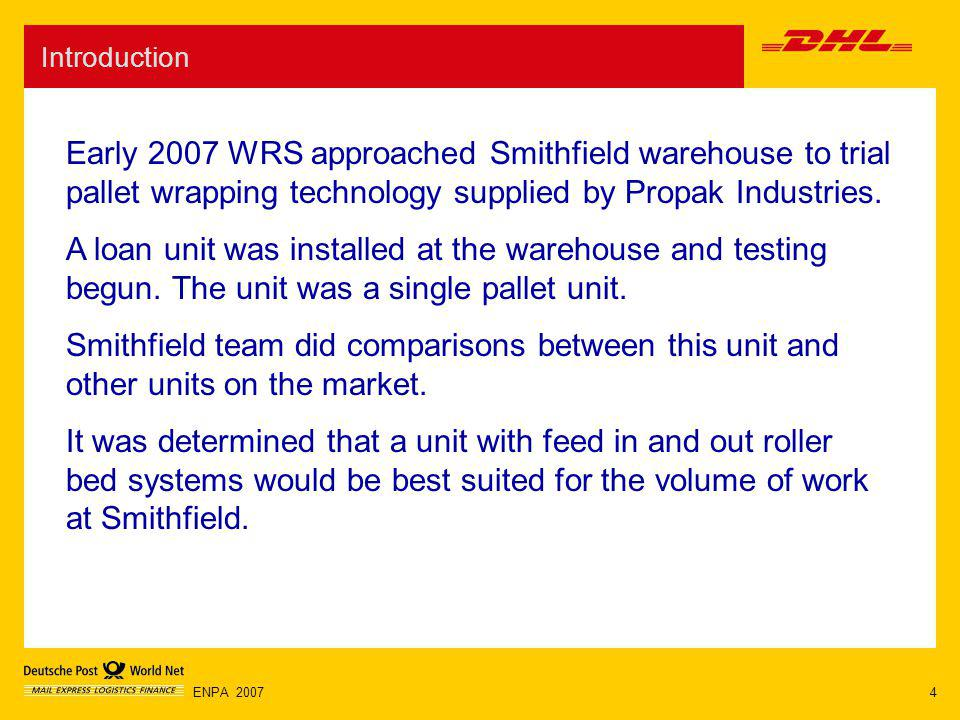 4ENPA 2007 Introduction Early 2007 WRS approached Smithfield warehouse to trial pallet wrapping technology supplied by Propak Industries. A loan unit