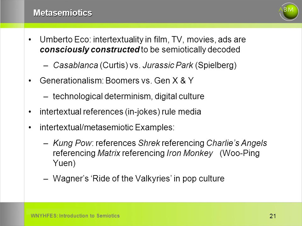 WNYHFES: Introduction to Semiotics 21Metasemiotics Umberto Eco: intertextuality in film, TV, movies, ads are consciously constructed to be semioticall