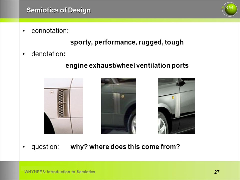 WNYHFES: Introduction to Semiotics 27 Semiotics of Design connotation: sporty, performance, rugged, tough denotation: engine exhaust/wheel ventilation