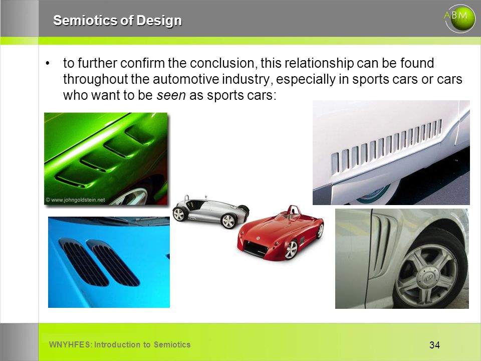 WNYHFES: Introduction to Semiotics 34 Semiotics of Design to further confirm the conclusion, this relationship can be found throughout the automotive industry, especially in sports cars or cars who want to be seen as sports cars: