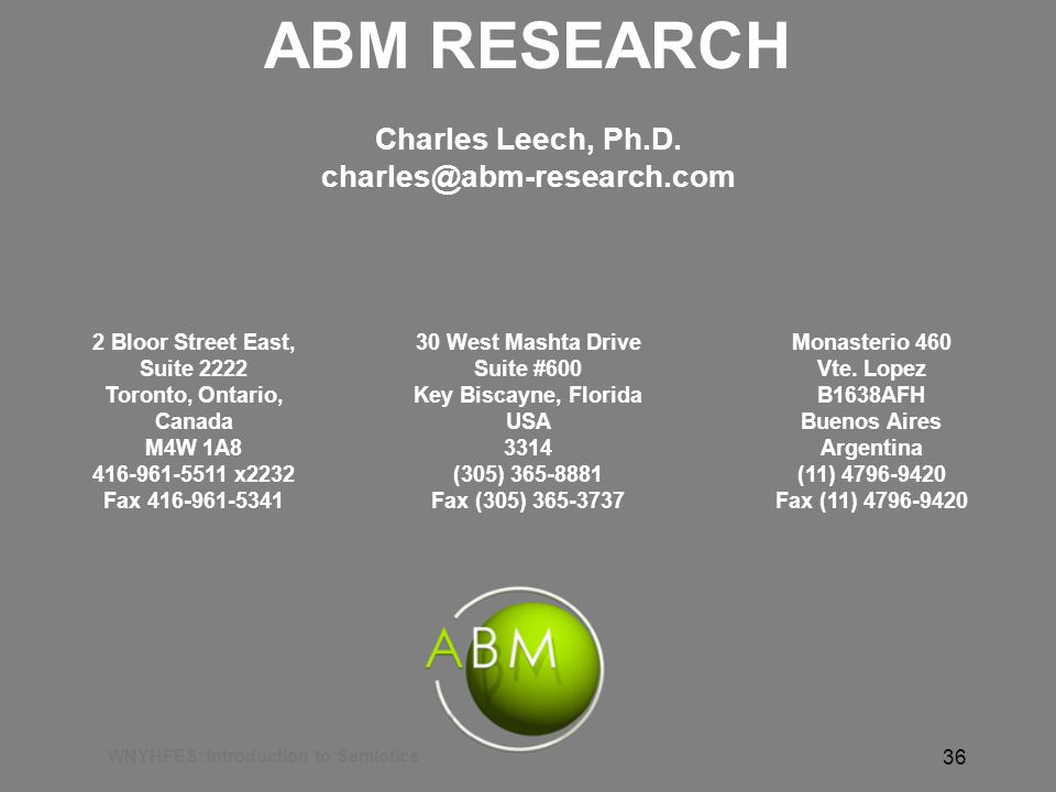 WNYHFES: Introduction to Semiotics 36 ABM RESEARCH Charles Leech, Ph.D.