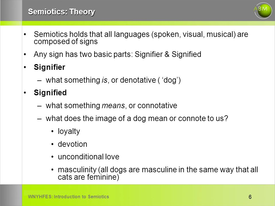 WNYHFES: Introduction to Semiotics 6 Semiotics: Theory Semiotics holds that all languages (spoken, visual, musical) are composed of signs Any sign has