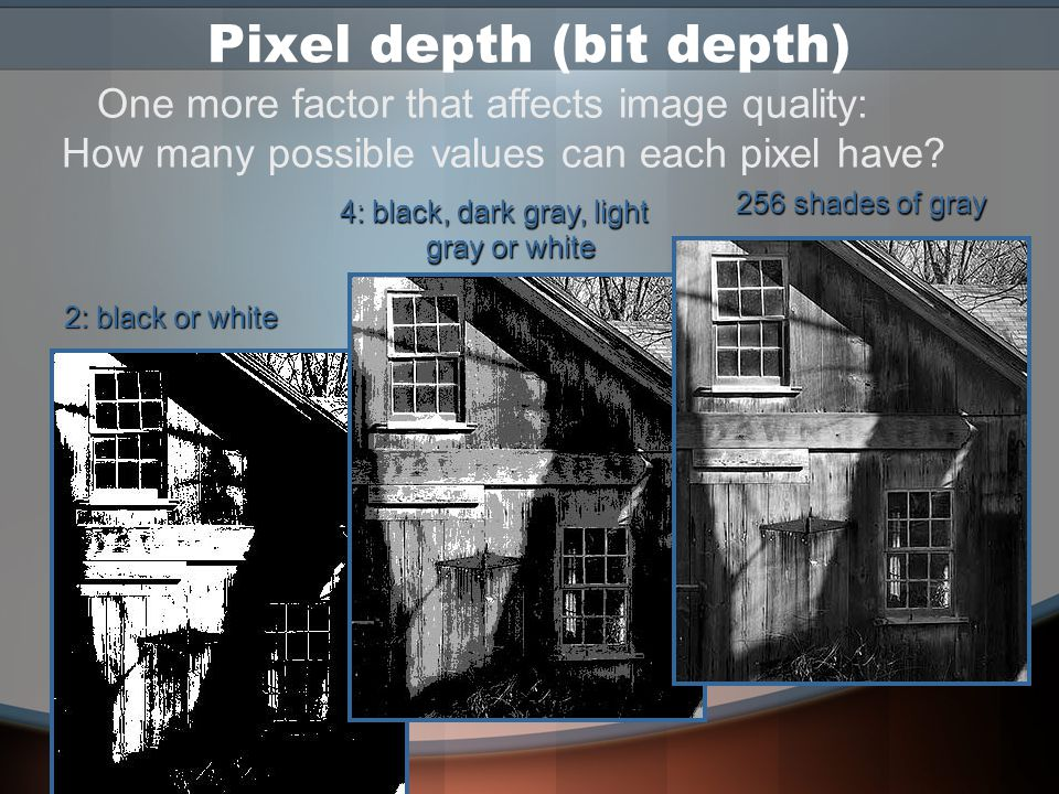 Interpolation A way to enlarge an image without enlarging the pixels is to add new pixels –What color should the new pixels be.