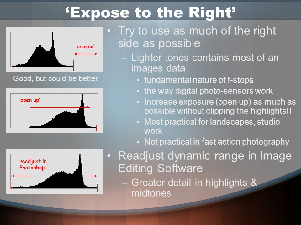 Evaluating the Histogram No such thing as perfect histogram –Different depending upon the content of the image –Low Key, Low-Contrast & High Key image