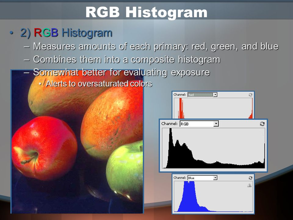 Types of Histograms There are 2 types of histograms –1) Luminosity Histogram Measures brightness (value) of imageMeasures brightness (value) of image