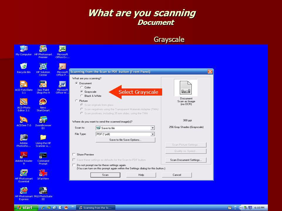What are you scanning Document Grayscale Select Grayscale