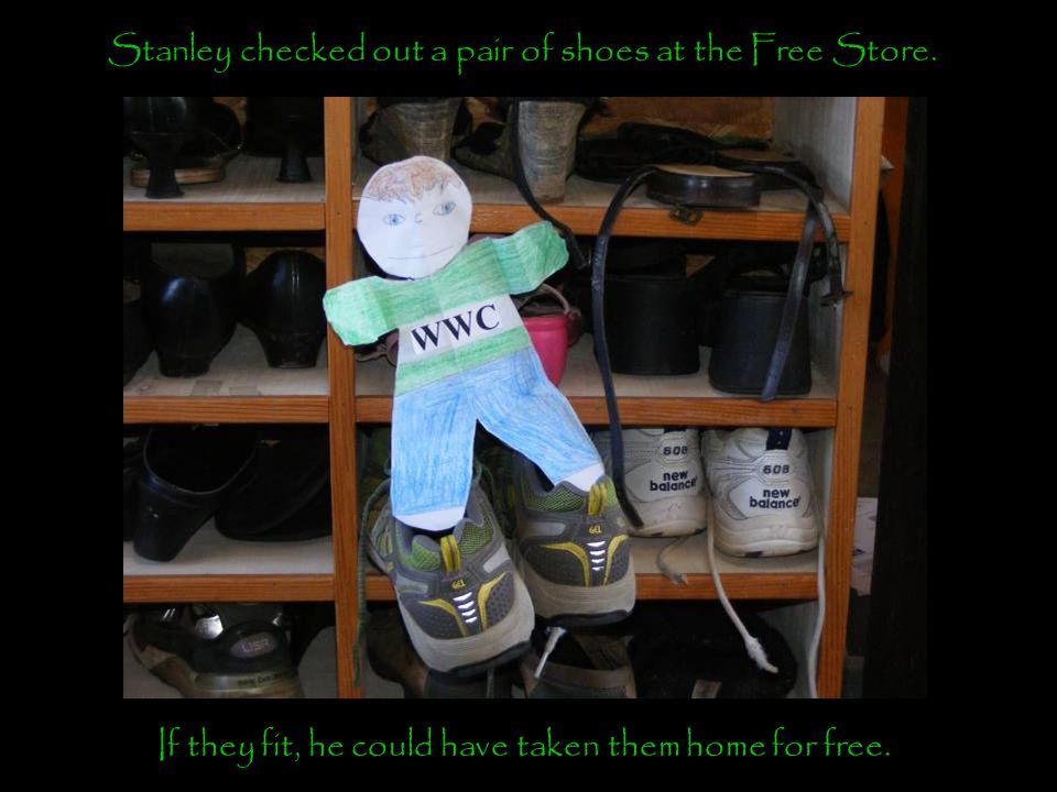 Stanley checked out a pair of shoes at the Free Store.