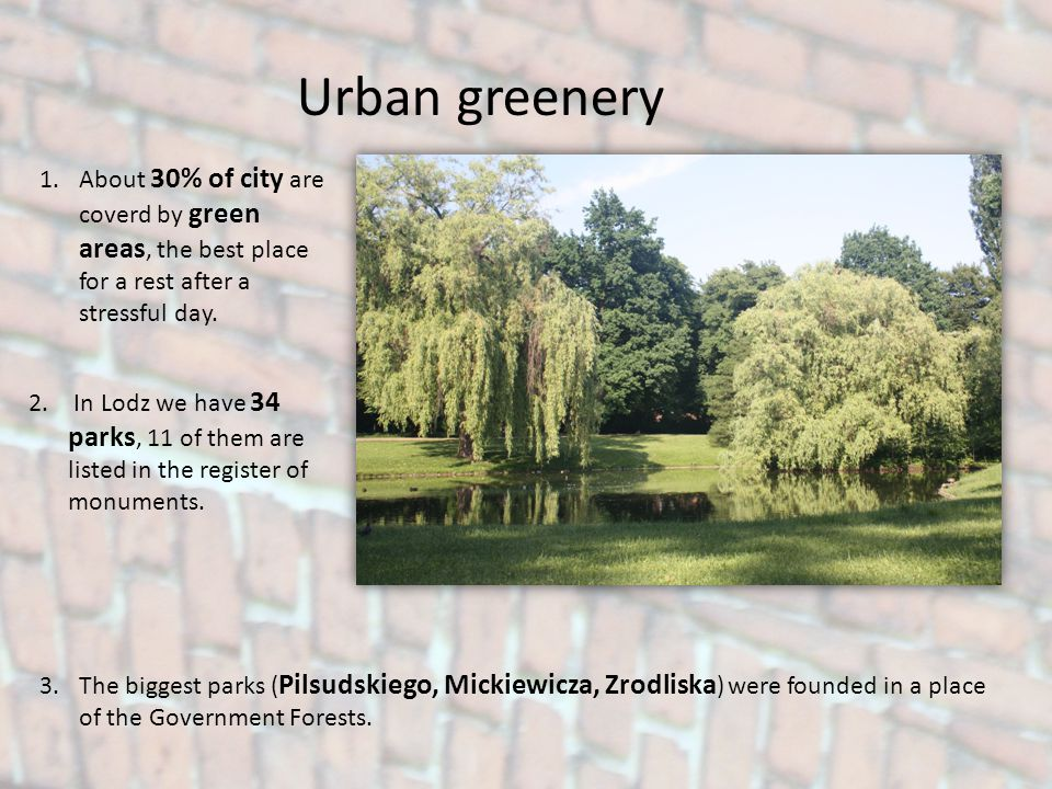 Urban greenery 1.About 30% of city are coverd by green areas, the best place for a rest after a stressful day. 2. In Lodz we have 34 parks, 11 of them