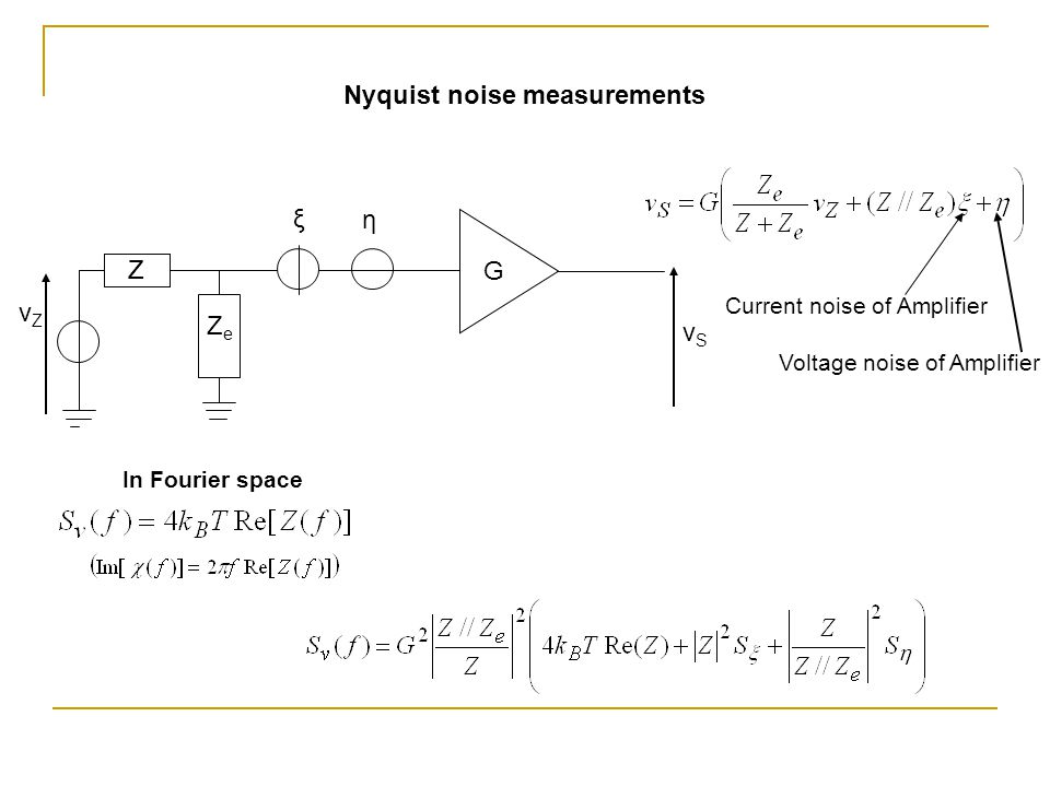 ZZ ZeZe vSvS vZvZ G ξ η Nyquist noise measurements Current noise of Amplifier Voltage noise of Amplifier In Fourier space