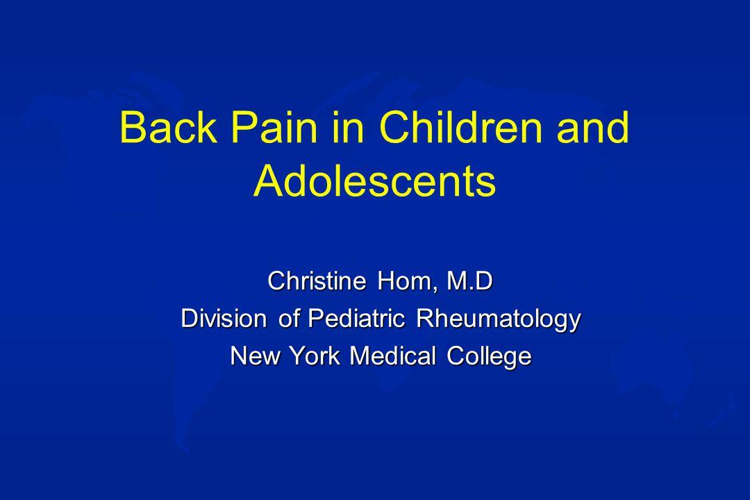 Etiology of back pain u OTHER –Fibromyalgia –Reflex sympathetic dystrophy –Conversion disorder –Pain amplification syndrome –Psychogenic