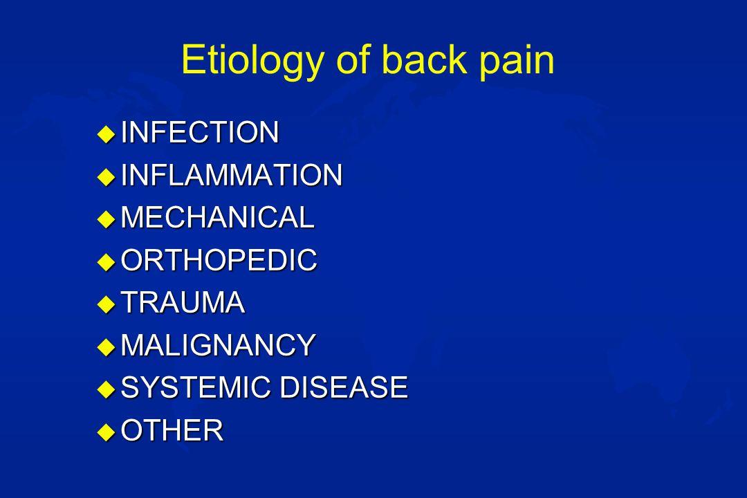 Etiology of back pain u INFECTION –Sacroiliac infections –Vertebral osteomyelitis –Diskitis –Pyelonephritis –Potts disease –Spinal epidural abscess –Psoas abscess