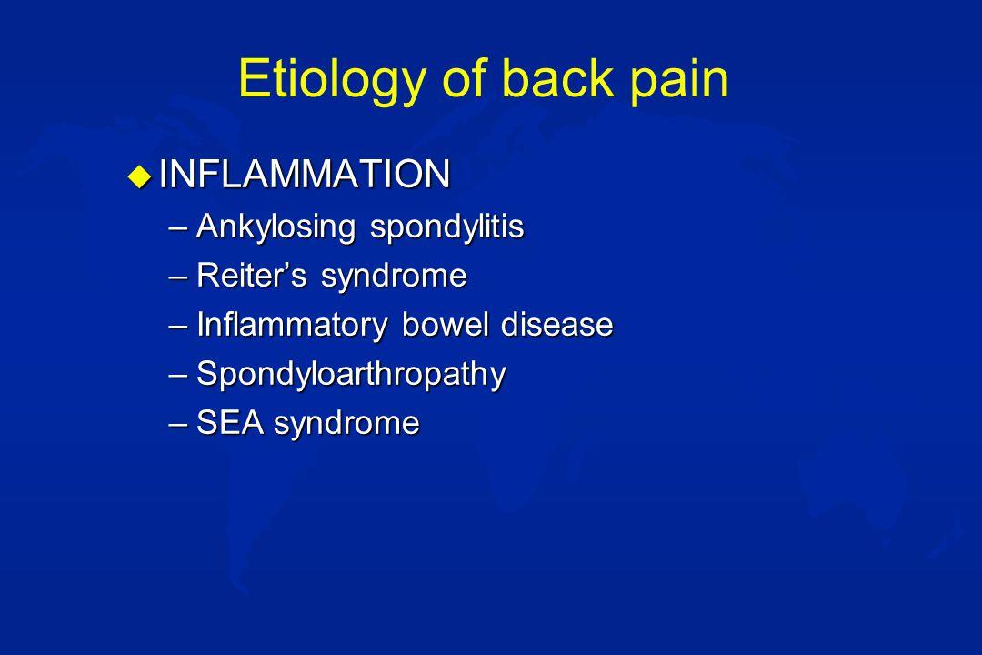 Etiology of back pain u MECHANICAL –Musculoskeletal (sprain/strain) –Herniated disc u ORTHOPEDIC/TRAUMA –Spondylolisthesis –Spondylolysis –Scheuermanns disease –(Scoliosis) –Vertebral compression fracture