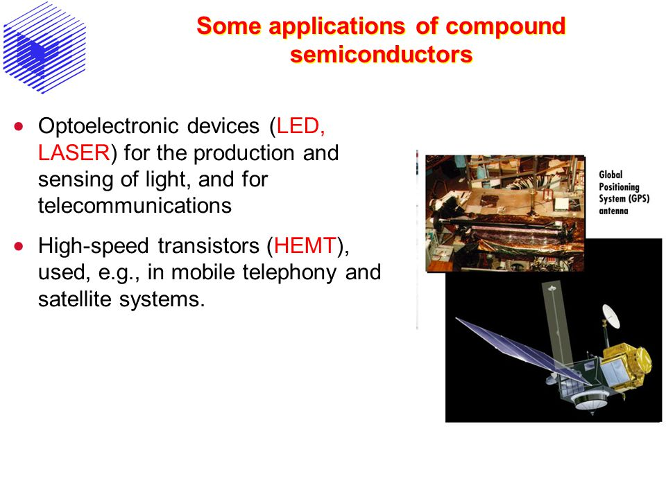 Some applications of compound semiconductors Optoelectronic devices (LED, LASER) for the production and sensing of light, and for telecommunications H