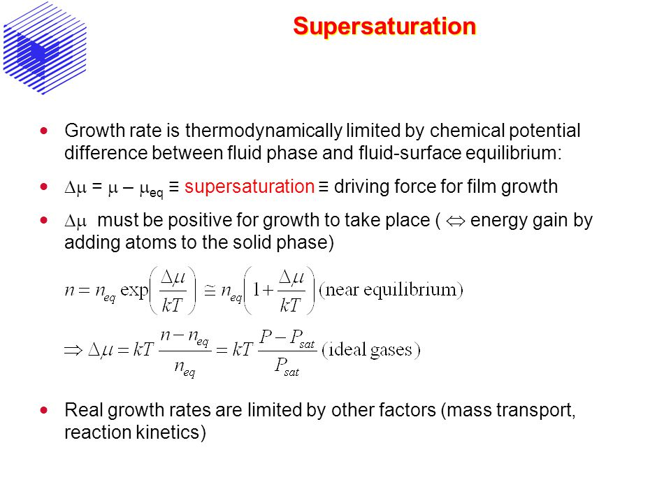 Supersaturation Growth rate is thermodynamically limited by chemical potential difference between fluid phase and fluid-surface equilibrium: = – eq su