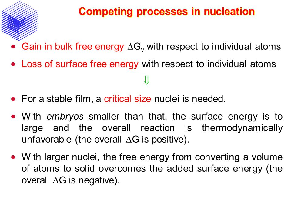 Competing processes in nucleation Gain in bulk free energy G v with respect to individual atoms Loss of surface free energy with respect to individual