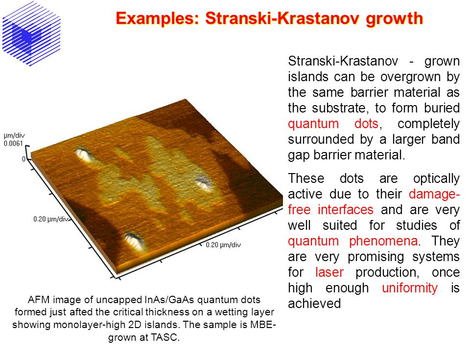 Examples: Stranski-Krastanov growth AFM image of uncapped InAs/GaAs quantum dots formed just afted the critical thickness on a wetting layer showing m