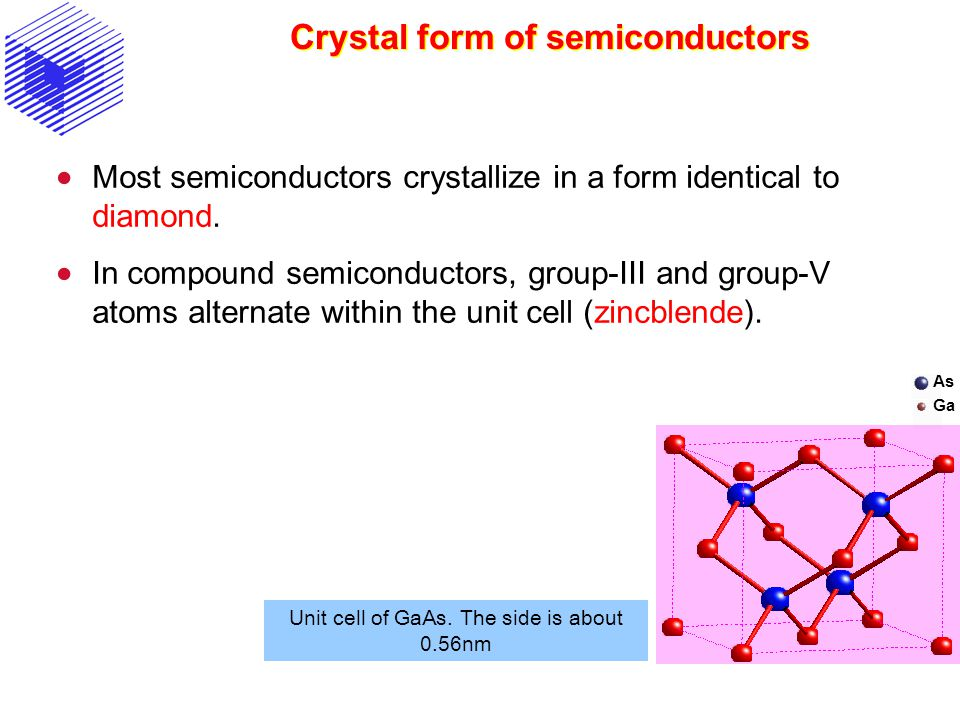 Crystal form of semiconductors Most semiconductors crystallize in a form identical to diamond. In compound semiconductors, group-III and group-V atoms