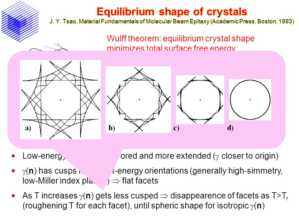 Equilibrium shape of crystals J. Y. Tsao, Material Fundamentals of Molecular Beam Epitaxy (Academic Press, Boston, 1993) Wulff theorem: equilibrium cr