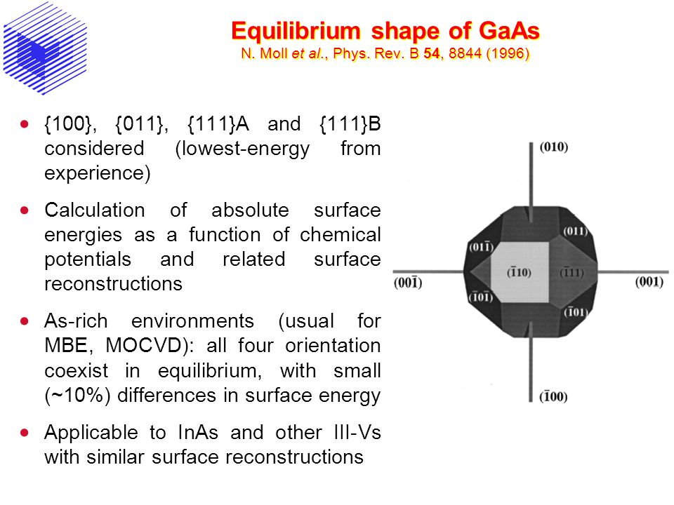 Equilibrium shape of GaAs N. Moll et al., Phys. Rev. B 54, 8844 (1996) {100}, {011}, {111}A and {111}B considered (lowest-energy from experience) Calc