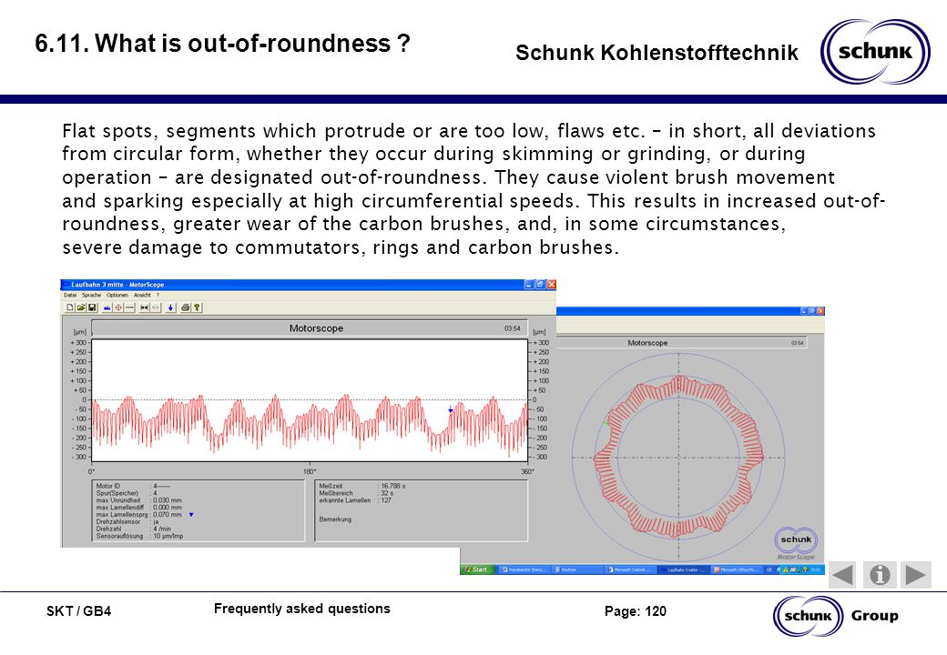 SKT / GB4 Page: 120 Schunk Kohlenstofftechnik Frequently asked questions 6.11. What is out-of-roundness ? Flat spots, segments which protrude or are t