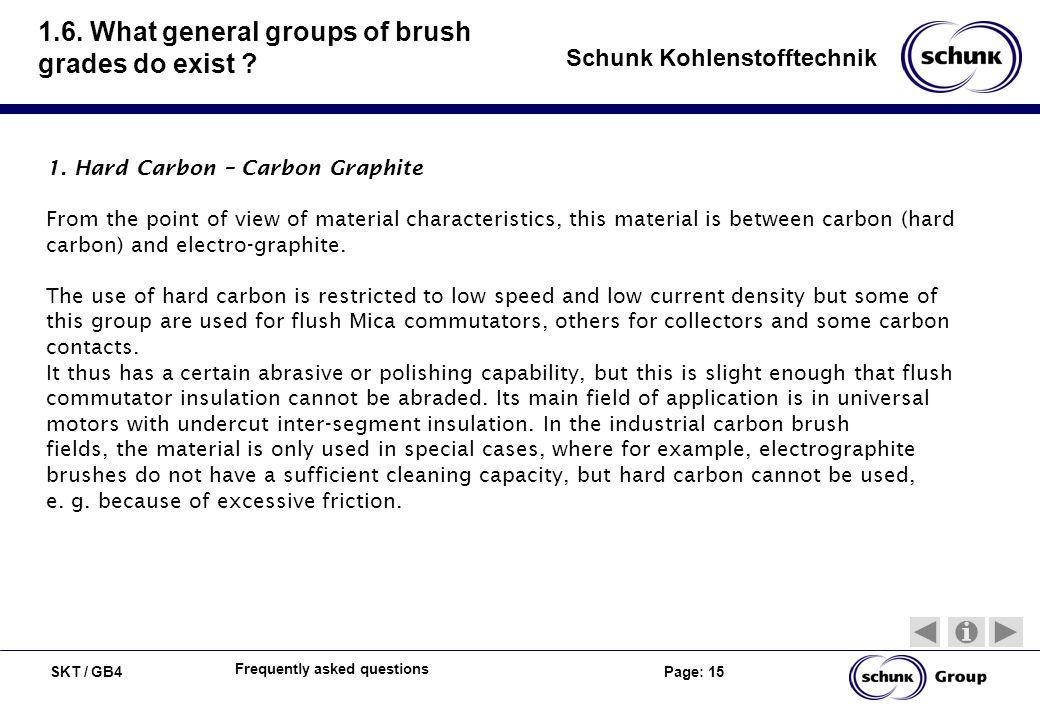SKT / GB4 Page: 15 Schunk Kohlenstofftechnik Frequently asked questions 1.6. What general groups of brush grades do exist ? 1. Hard Carbon – Carbon Gr